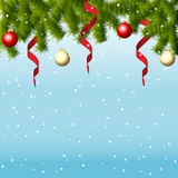 Winter background with  fir branches and balls. Vector illustration Royalty Free Stock Photography