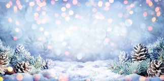 Winter Background With Fir Branches On Snow stock photo