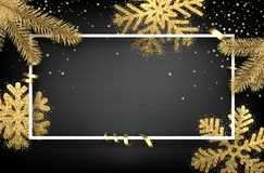 Winter background with fir branches and snowflakes. Grey rectangular Christmas background with golden fir branches and snowflakes. Vector illustration.r Stock Images