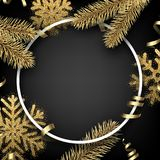 Winter background with fir branches and snowflakes. Grey round Christmas background with golden fir branches and snowflakes. Vector illustration Royalty Free Stock Image
