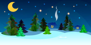 Winter background with a fir tree and snow. Beautiful countryside winter background. Vector illistration Royalty Free Stock Photography