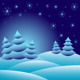 Winter background with fir trees on snowdrifts and with different snowflakes 2015 Stock Images