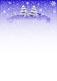 Winter background with fir trees on snowdrifts and with different snowflakes 2015. Vector illustration Stock Images