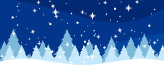 Winter background with fir-trees and snowflakes Royalty Free Stock Photo