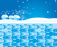 Winter background with fish Stock Image