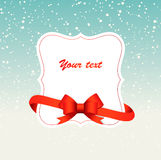 Winter background with a frame and red ribbon Royalty Free Stock Image