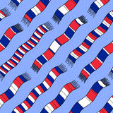 Winter background with France Flag Scarves. Seamless vector patt Royalty Free Stock Image