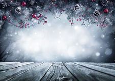 Winter Background With Frost Fir Branch. On Vintage Table Royalty Free Stock Photography