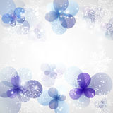 Winter Background with frozen flower. Christmas card. Vector Illustration . Royalty Free Stock Images