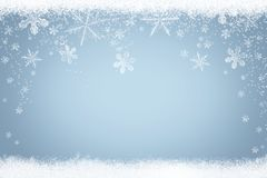 Winter background with frozen snowflakes and snow Stock Photos