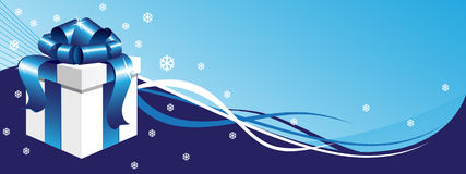 Winter background with gift box Royalty Free Stock Images
