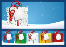 Winter Background - Gift with Label Royalty Free Stock Photos