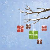 Winter background with gifts on a tree Stock Photography