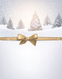 Winter background with golden bow. Stock Image