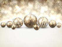 Winter background with golden christmas balls. Royalty Free Stock Photos
