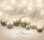 Winter background with golden christmas balls. Stock Photo