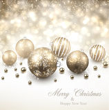 Winter background with golden christmas balls. Royalty Free Stock Photography