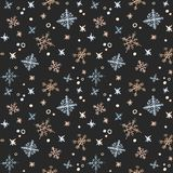 Winter background. Hand drawn watercolor seamless pattern - gold Royalty Free Stock Photo