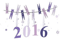 Winter background of 2016. Hanging on the rope stock illustration
