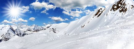 Winter background, high mountains. Royalty Free Stock Photos