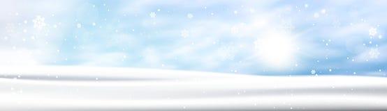 Winter Background Horizontal Banner Snow White Landscape Blue Sky Snowfall. Flat Vector Illustration Stock Photos