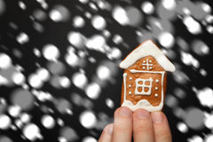 Winter Background with House and Snow Stock Image