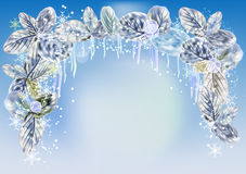 Winter background with icicles, snowflakes and leaves Royalty Free Stock Image