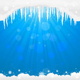 Winter background  with icicles Royalty Free Stock Photo