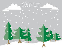 Winter background. An illustration of a winter background greeting card with abstract fir trees and white winter snow clouds with snowflakes on a gray background Royalty Free Stock Photos
