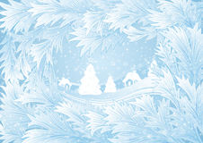Winter background. Illustration of winter background with hoarfrost frame, fir trees and houses Royalty Free Stock Photo