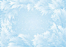 Winter background. Illustration of winter background with hoarfrost frame and snowstorm ornament Stock Photo