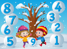 Winter background with kids and numbers. Illustration Royalty Free Stock Photos