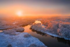 Winter background. Winter landscape. Morning sunshine. Aerial view stock image