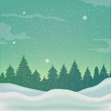 Winter background, landscape. Winter landscape with spruce tree and snowfall Royalty Free Stock Images
