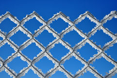 Winter background with a lattice covered by ice crystals Royalty Free Stock Photos