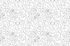 Winter background from line icon. Linear vector pattern. Vector illustration stock illustration