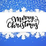 Winter background with merry lettering. Christmas border template. vector illustration