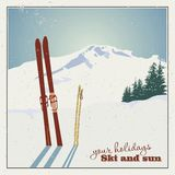 Winter  background. Mountains and ski equipment in the snow Stock Photos