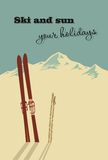 Winter  background. Mountains and ski equipment in the snow Royalty Free Stock Photos
