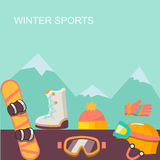 Winter  background. Mountains and snowboard Royalty Free Stock Images