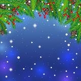 Winter background. Night star sky with the branches of fir-tree, cones and snow. Greeting Card and banners design. Vector illustration stock illustration