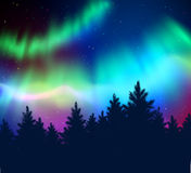 Winter background with northern lights Stock Images