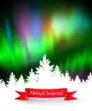 Winter background with northern lights Royalty Free Stock Photo
