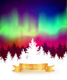Winter background with northern lights Stock Photography