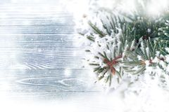 Winter background over wooden texture royalty free stock photography