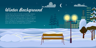 Winter Background. Park Landscape. Christmas Night. Winter background. Park landscape at Christmas night. Street lamp near trees and wooden bench at dark cold Royalty Free Stock Image
