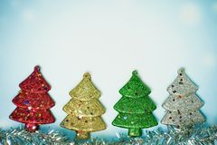 Pine tree christmas decoration - Winter background stock photos