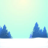 Winter background with pines and snow. Vector eps 10 Stock Photo