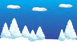 Winter background with polygonal firs trees and clouds. Landscape season. Vector graphic illustration Stock Image