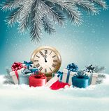Winter background with presents and clock. Royalty Free Stock Photo